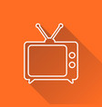 tv icon in line style isolated on orange vector image vector image
