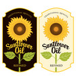 two labels for sunflower oil with a big flower vector image