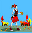 school girl in uniform with ponytails going to vector image