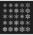 thin line snowflake icons set vector image