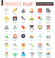 set of flat entertainment icons vector image