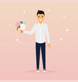 man with a bouquet of flowers flat design vector image