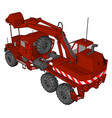 3d on white background big red excavator vector image vector image