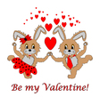 A couple of funny cartoon rabbits with hearts vector image vector image