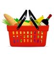 A red plastic shopping basket with groceries vector image vector image