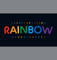 awesome rainbow color alphabet rounded stunning vector image