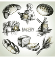 Bakery sketch icon set vector image vector image