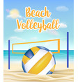 beach volleyball and net on a sea sand beach vector image vector image