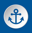 boat anchor - simple blue icon on white button vector image vector image
