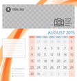 Calendar 2015 August template with place for photo vector image