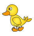 caricature yellow duck side view animal icon vector image vector image