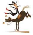 cartoon rider falls from horse isolated vector image vector image