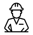 construction worker in helmet line icon builder vector image vector image