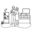 couple with bablack and white vector image vector image