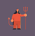 cute guy wearing devil horns and tail scarecrow vector image vector image