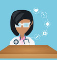 doctor with stethoscope and medical icons vector image vector image
