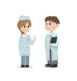 doctors man and woman talking conference vector image