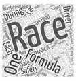 Driver Safety in Formula One Racing Word Cloud vector image vector image