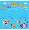 fish sea clouds sun summer background vector image vector image