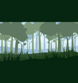 forest silhouette wood trees flora bushes and vector image