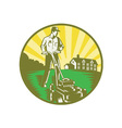 Gardener Mowing Lawn vector image vector image