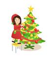 girl decorating christmas tree vector image vector image