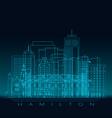 hamilton skyline silhouette blue linear style vector image vector image