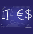 hammer judge scales of justice and the euro vector image vector image