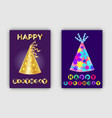happy birthday banners glittering realistic hats vector image vector image