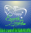 happy earth day greeting lettering card vector image vector image