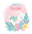 happy easter sleeping rabbit with eggs on flowers vector image