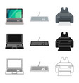 isolated object of laptop and device symbol set vector image