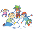 kids making a snow man isolated vector image