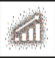 large group people forming growth chart sign vector image