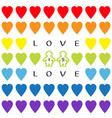 love is text rainbow heart set gay marriage vector image