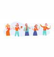 office fun joyful business people in santa claus vector image vector image