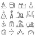 oil gas petroleum energy drilling line icons vector image