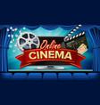 online cinema banner realistic computer vector image vector image