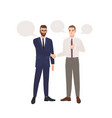 pair businessmen dressed in business suits vector image vector image