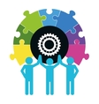 pictogram puzzle gear teamwork support design vector image vector image