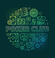 poker club concept linear round green vector image vector image