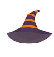 purple witch hat with orange stripes