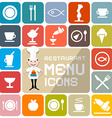 Restaurant Menu Colorful Flat Design Icons vector image vector image