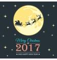 Santa and moon greeting card vector image