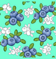 seamless pattern berry blueberry with leaves vector image vector image