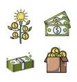 set crowdfunding business money financing vector image vector image