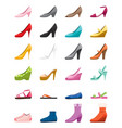 set of different types of womens shoes side view vector image