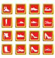 shoe icons set red vector image vector image