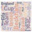 Soccer Legends David Beckham text background vector image vector image