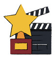 star trophy with clapper board vector image vector image